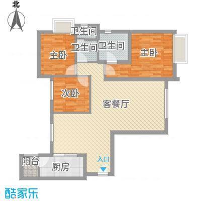 太原富力现代广场户型图3室2厅2卫123.17 3室2厅2卫1厨