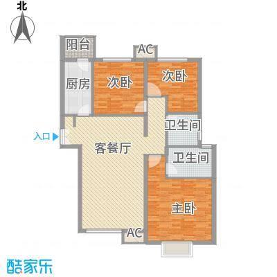 太原富力现代广场户型图1#楼二单元01户型 3室2厅2卫1厨