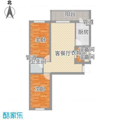 林海华庭74.33㎡4号楼2单元-4户型2室1厅1卫1厨