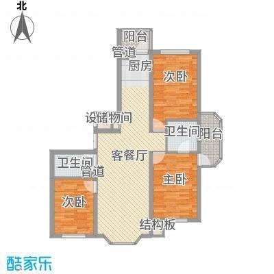 林海华庭102.00㎡3号楼2单元-2户型3室2厅2卫1厨