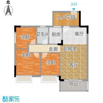格兰名筑97.60㎡10栋标准层02户型3室1卫1厨