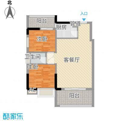 时代名轩77.00㎡时代名轩户型图01座2-17层平面图04单位77m22室2厅1卫1厨户型2室2厅1卫1厨