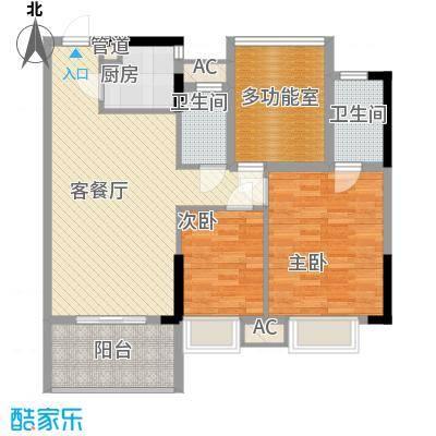 时代名轩93.00㎡时代名轩户型图04座2-17层平面图03单位93m23室2厅2卫1厨户型3室2厅2卫1厨