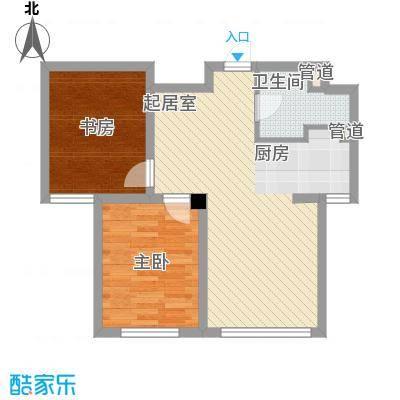 外滩九号74.00㎡外滩九号户型图1#楼G1b户型2室2厅1卫1厨户型2室2厅1卫1厨