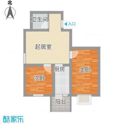 泰山领秀46.22㎡D、E栋户型2室1厅1卫1厨