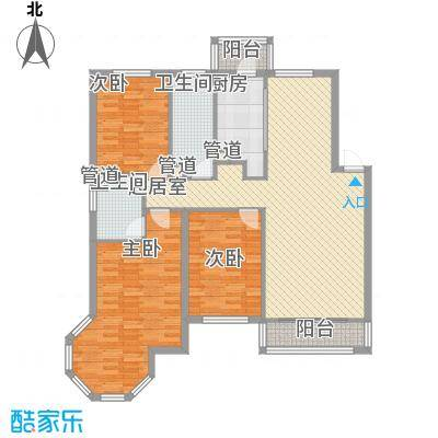 长兴湾一期121.00㎡长兴湾一期户型图一期6号楼标准层E户型3室2厅2卫1厨户型3室2厅2卫1厨