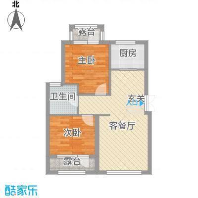 颐海听鸥户型图77.91 2室2厅1卫