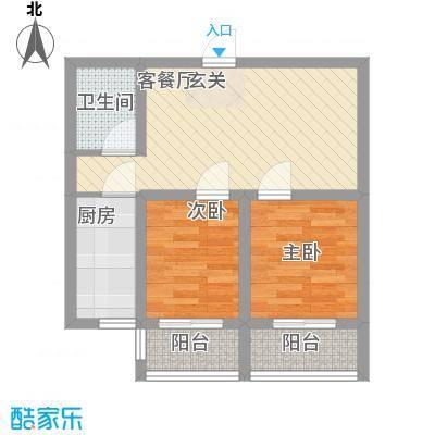 新希望乐城户型图5、6号楼C户型 2室2厅1卫1厨