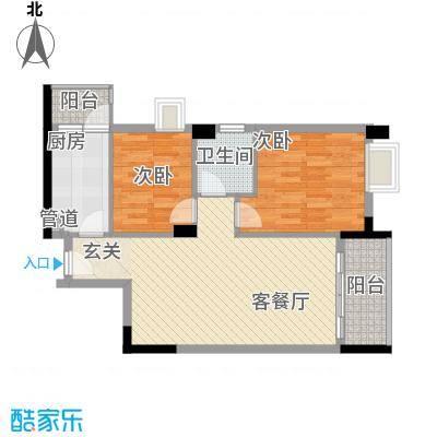 大步海滨花园三期户型图3号楼标准层02单元02户型 2室2厅1卫1厨