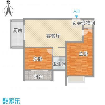 恒实城市广场・新城市花园户型图5-4-02-D2户型 2室2厅1卫1厨