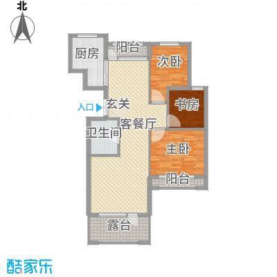 颐海听鸥户型图3室2厅1卫1厨