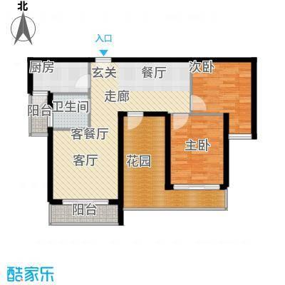 上河城户型图D2户型 3室2厅1卫1厨