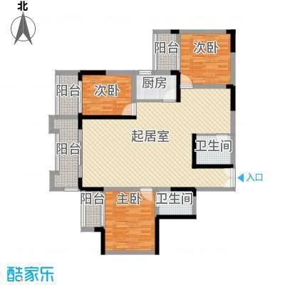 碧园花城136.00㎡碧园花城户型图8栋-d3室2厅2卫1厨户型3室2厅2卫1厨