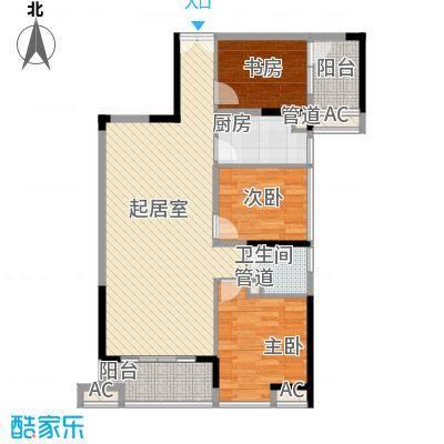 金地外滩8号90.22㎡金地外滩8号户型图6、7栋标准层03单位3室2厅1卫1厨户型3室2厅1卫1厨