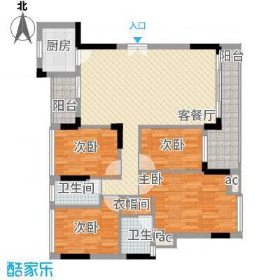 紫荆花园别墅108.00㎡紫荆花园别墅4室户型4室