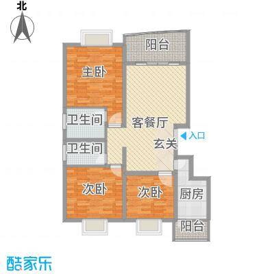 十里江南105.00㎡十里江南户型图B2平层-23室2厅2卫1厨户型3室2厅2卫1厨
