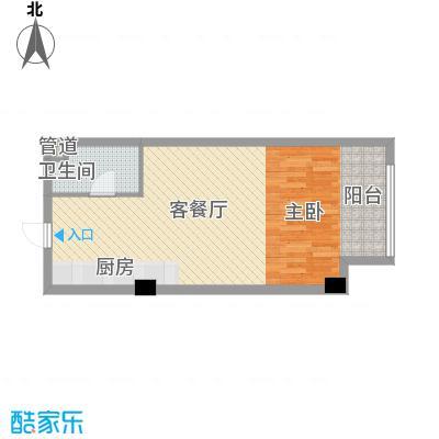 左岸经典蜜罐公寓47.60㎡1#-4#楼A户型1室1厅1卫1厨