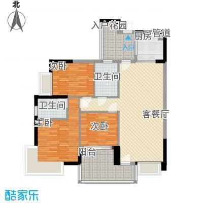 江南第一城110.00㎡江南第一城户型图90、91栋标准层01+02户型3室2厅2卫1厨户型3室2厅2卫1厨