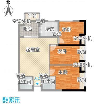 新世纪星城美寓107.00㎡新世纪星城美寓户型图50栋标准层B户型3室2厅2卫1厨户型3室2厅2卫1厨