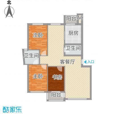 金润花园三期户型图158#168#楼F户型 3室2厅2卫1厨