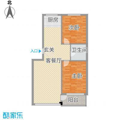 金润花园三期户型图92b#、132#、148#楼C户型 2室2厅1卫1厨