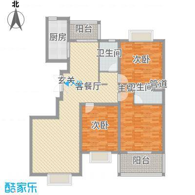 城市花园164.31㎡6-1户型3室2厅2卫