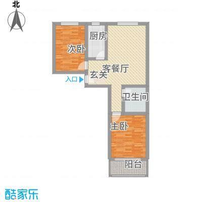 郦苑国际花园二期2-21-1户型2室2厅1卫1厨