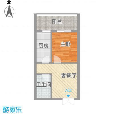 贵通润园51.00㎡c-E户型1室1厅1卫1厨