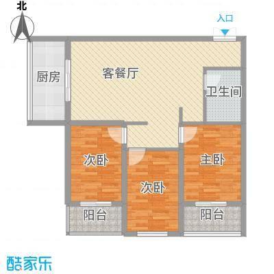 贵通润园112.00㎡c-B户型3室2厅1卫1厨