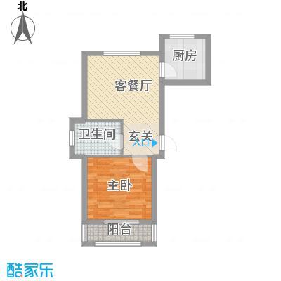 山河枫景58.14㎡D户型1室1厅1卫1厨