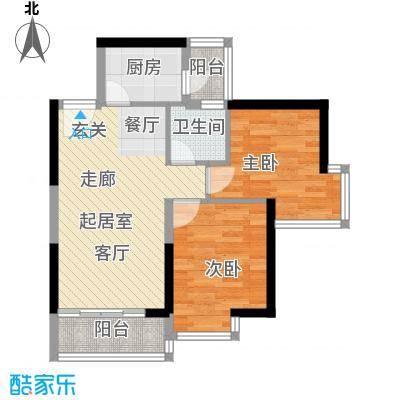 中惠丽阳时代62.20㎡中惠丽阳时代一期2室户型2室