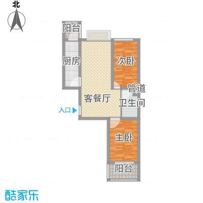 富康苑新区户型图2号楼F户型 2室2厅1卫1厨