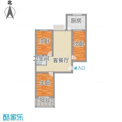富康苑新区户型图1号楼E户型 3室2厅1卫1厨