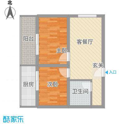 富康苑新区户型图2号楼A户型 2室1厅1卫1厨