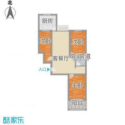 富康苑新区户型图1号楼户型E1 3室2厅1卫1厨