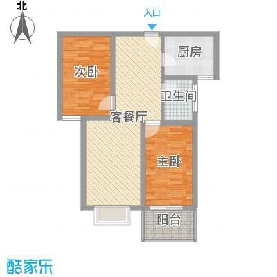 富康苑新区户型图1号楼户型F 2室2厅1卫1厨