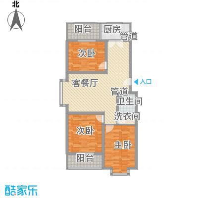 龙昌滨河源户型图3A 3室2厅1卫1厨