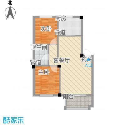 佰融玖珑湾户型图5#、8#楼D1户型 2室2厅1卫1厨