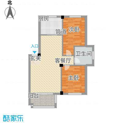 佰融玖珑湾户型图5#、8#楼D2户型 2室2厅1卫1厨