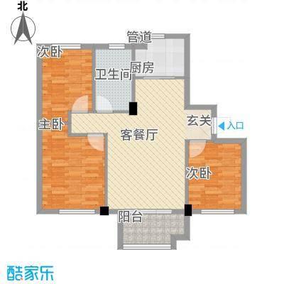 佰融玖珑湾户型图2#楼C1户型 3室2厅1卫1厨