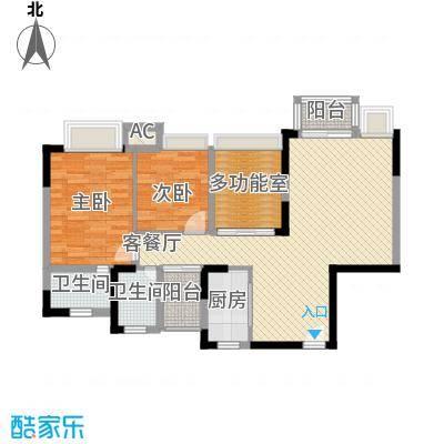 丰泰东海城堡户型图3栋标准层D1户型 3室2厅2卫1厨