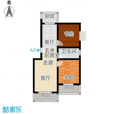 钢府逸居户型图C户型 2室2厅1卫1厨