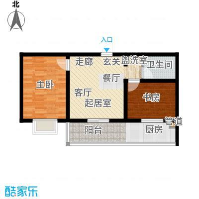 钢府逸居户型图E户型 2室2厅1卫1厨