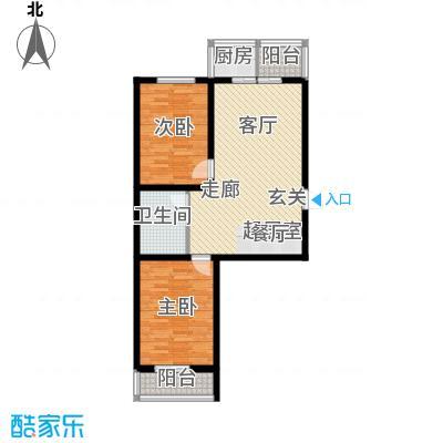 钢府逸居户型图J户型 2室2厅1卫1厨