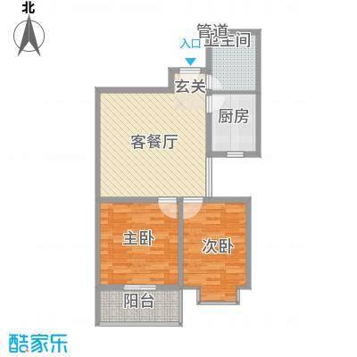 滨河城・左岸户型图K两室两厅一卫81.43 2室2厅1卫1厨