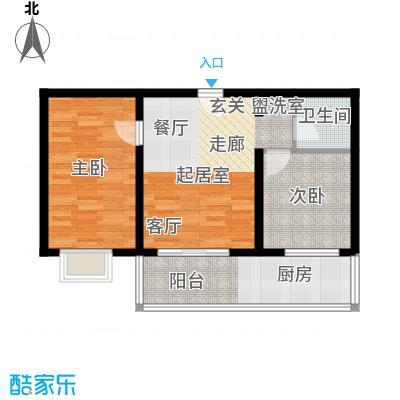 钢府逸居户型图B户型 2室1厅1卫1厨