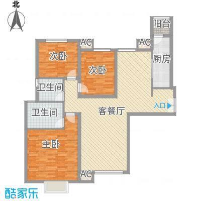 太原富力现代广场户型图1#楼1单元03户型 3室2厅2卫1厨