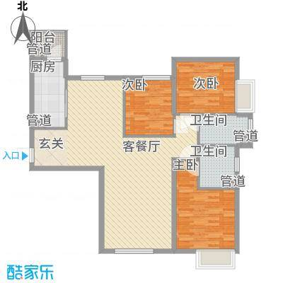 太原富力现代广场户型图5号楼户型 3室2厅2卫