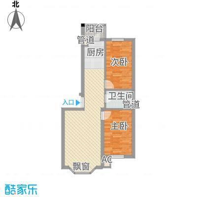 林海华庭76.57㎡1、2号楼1单元-1户型2室2厅1卫1厨