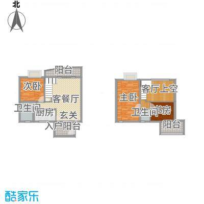 十里江南140.00㎡十里江南户型图A2复式上下层3室2厅2卫1厨户型3室2厅2卫1厨
